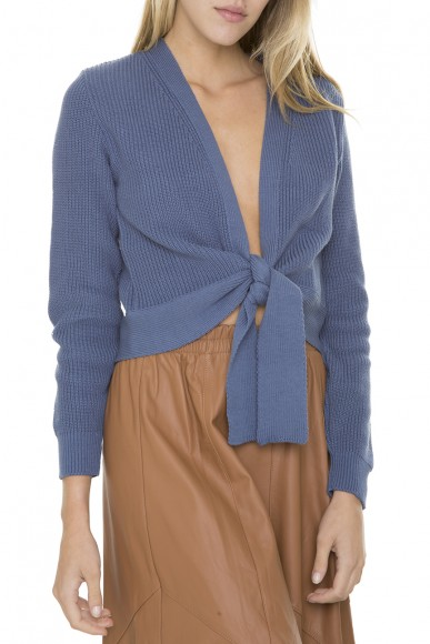 Cardigan tricot cropped cobalto